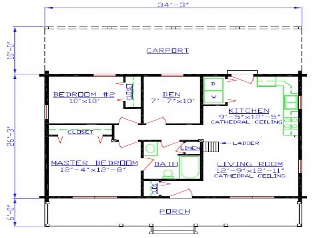 Small Cabin Blueprints Small Mountain Cabin Floor Plans