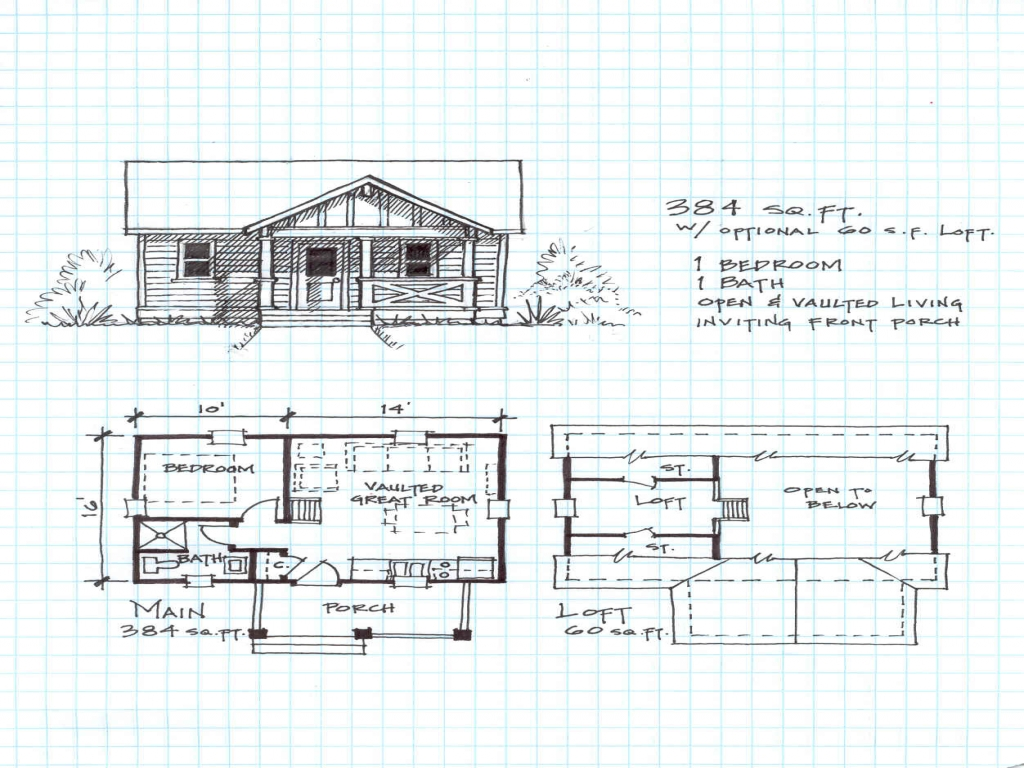 Small cabin plans with loft hunting cabin plans log cabin for Small log home plans with loft