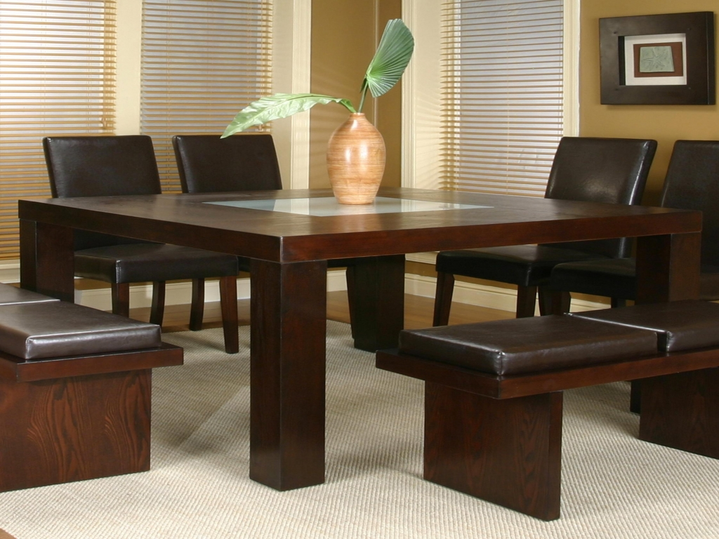 Square dining table with glass insert dining tables for for Dining table for small spaces modern