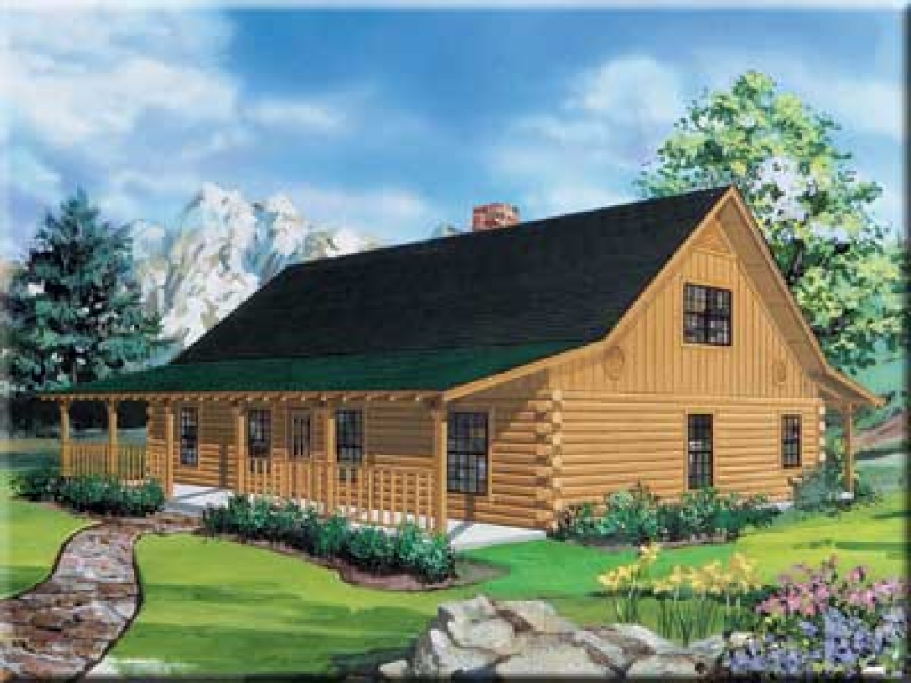 Ranch style log home floor plans ranch log cabin homes for Cabin style homes