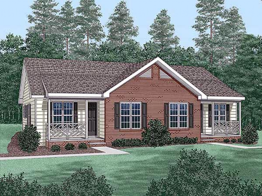 One story duplex house plans ranch duplex house plans with for Single story duplex