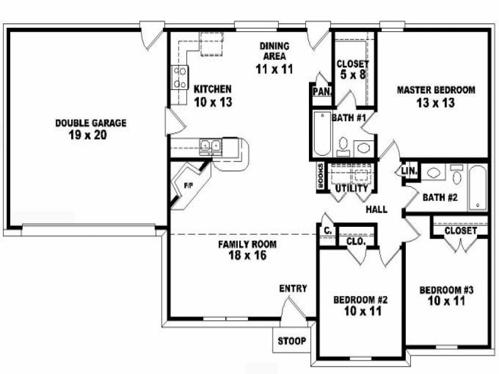 3 bedroom apartment floor plans 3 bedroom one story house for Floor plans for 5 bedroom ranch homes