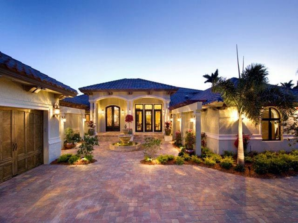 Mediterranean Model Homes Florida Luxury House Plan One Level Plans