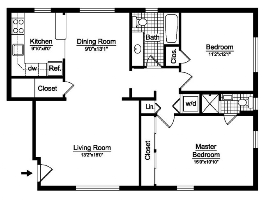 2 bedroom 2 bath open floor plans 2 bedroom 2 bath house for House plans under 1200 square feet
