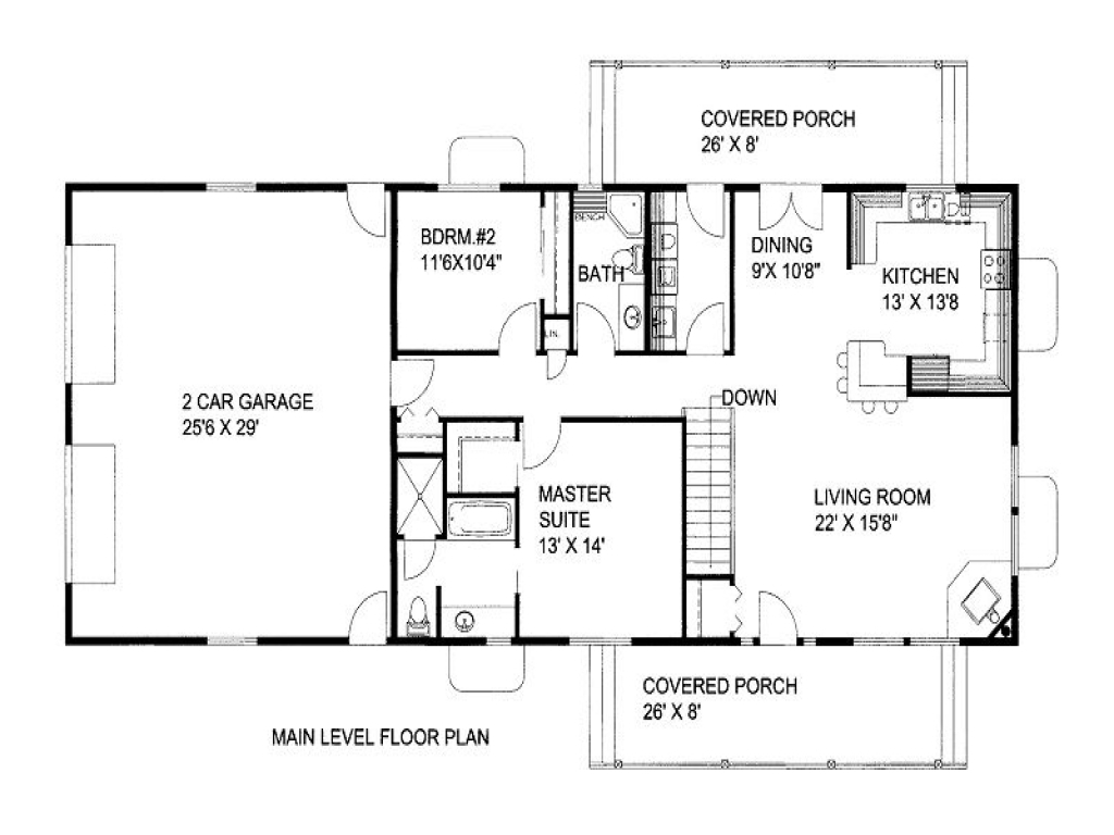 1500 Square Foot House Plans 2 Bedroom 1300 Square Foot ...