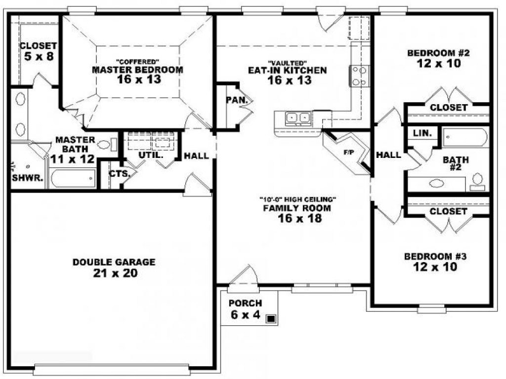 3-Bedroom Duplex Floor Plans 3 Bedroom One Story House