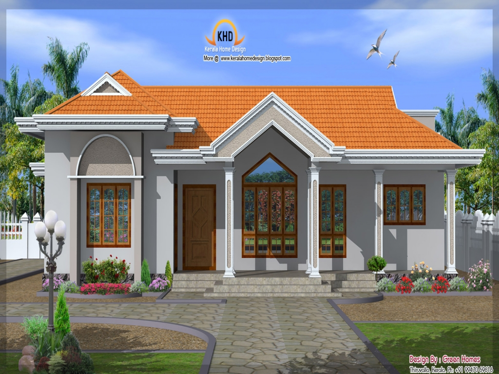Single house front elevations single floor house elevation for Ranch house elevations