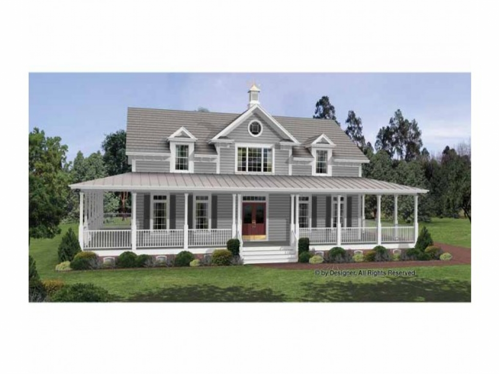 Colonial house plans with wrap around porches country for Small colonial house plans
