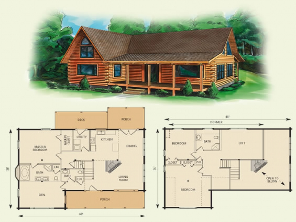 Log cabin loft floor plans small log cabins with lofts for Log cabin ranch home plans