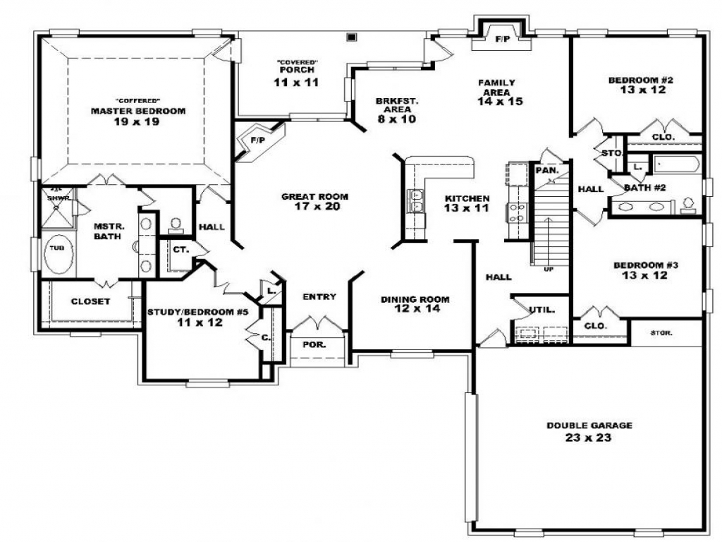4 bedroom 2 story house plans story 3 bedroom with for Single story 2 bedroom house plans