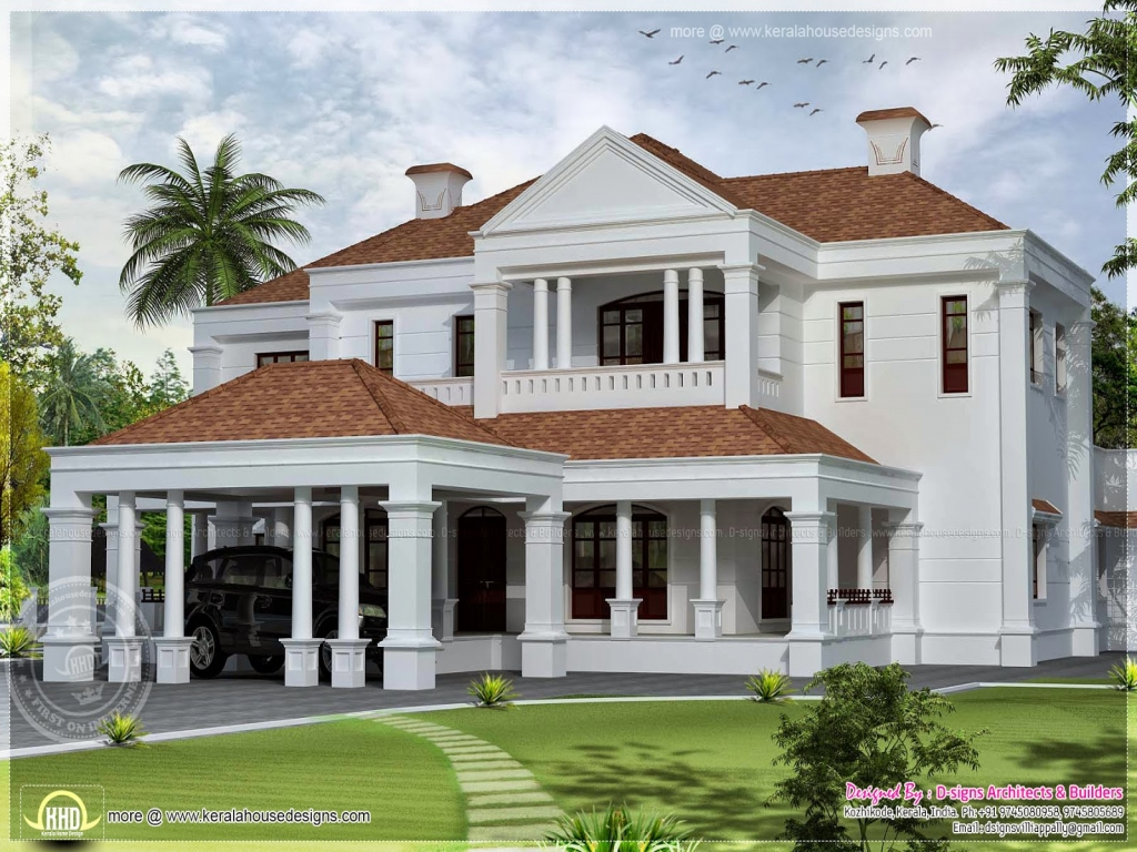 Colonial style home elevation colonial home designs for Colonial home builders