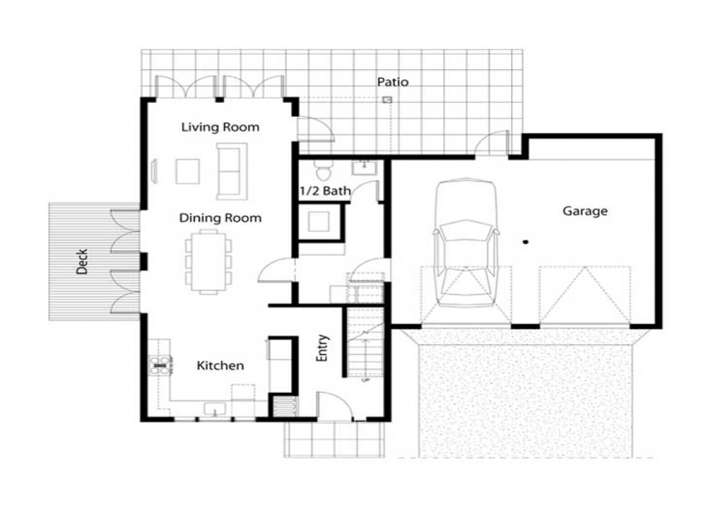 Simple house floor plan simple square house floor plans for Minimalist house floor plans