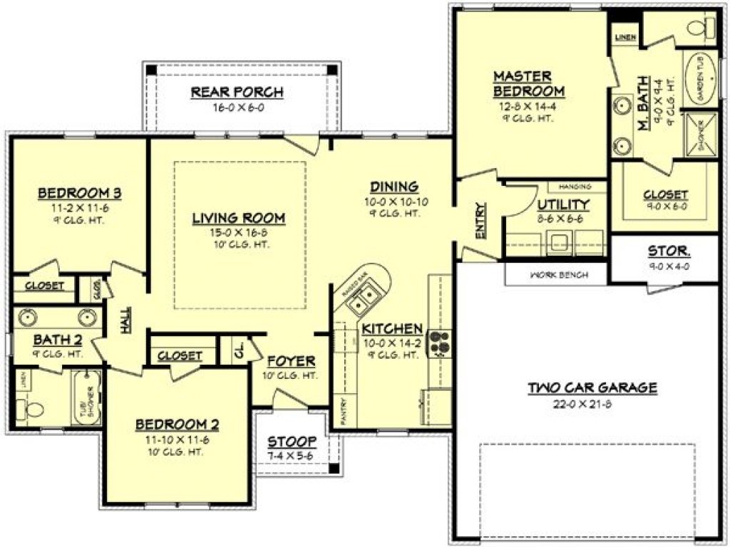 1100 square feet 1500 square feet 3 bedroom house plan for 1100 sq ft ranch house plans