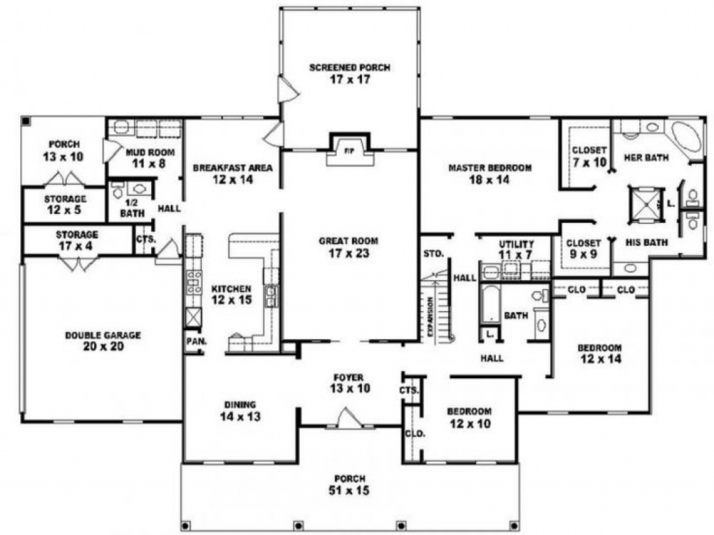 5 Bedroom 3 Bath One Story House Plans Rustic Bedroom Bath One Story 4 Bedroom House Plans