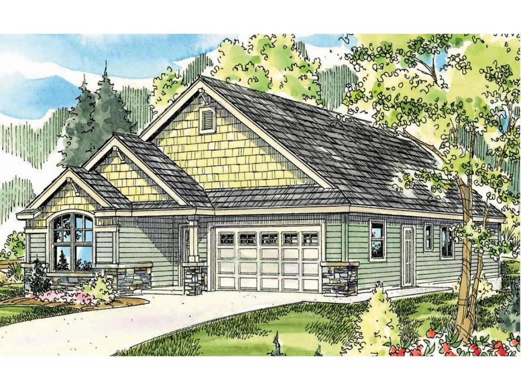 Front Elevation Of A Bungalow : Craftsman bungalow house plans plan front
