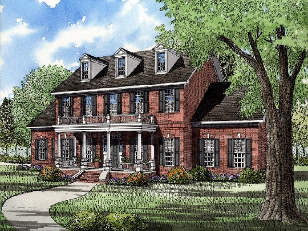 House plans colonial style homes georgian plantation style for Colonial brick