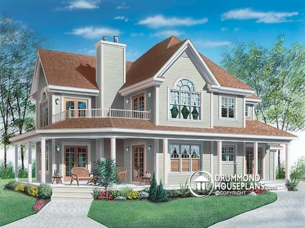 Farm house plans with porches farm house plans with wrap for Farm house drawings