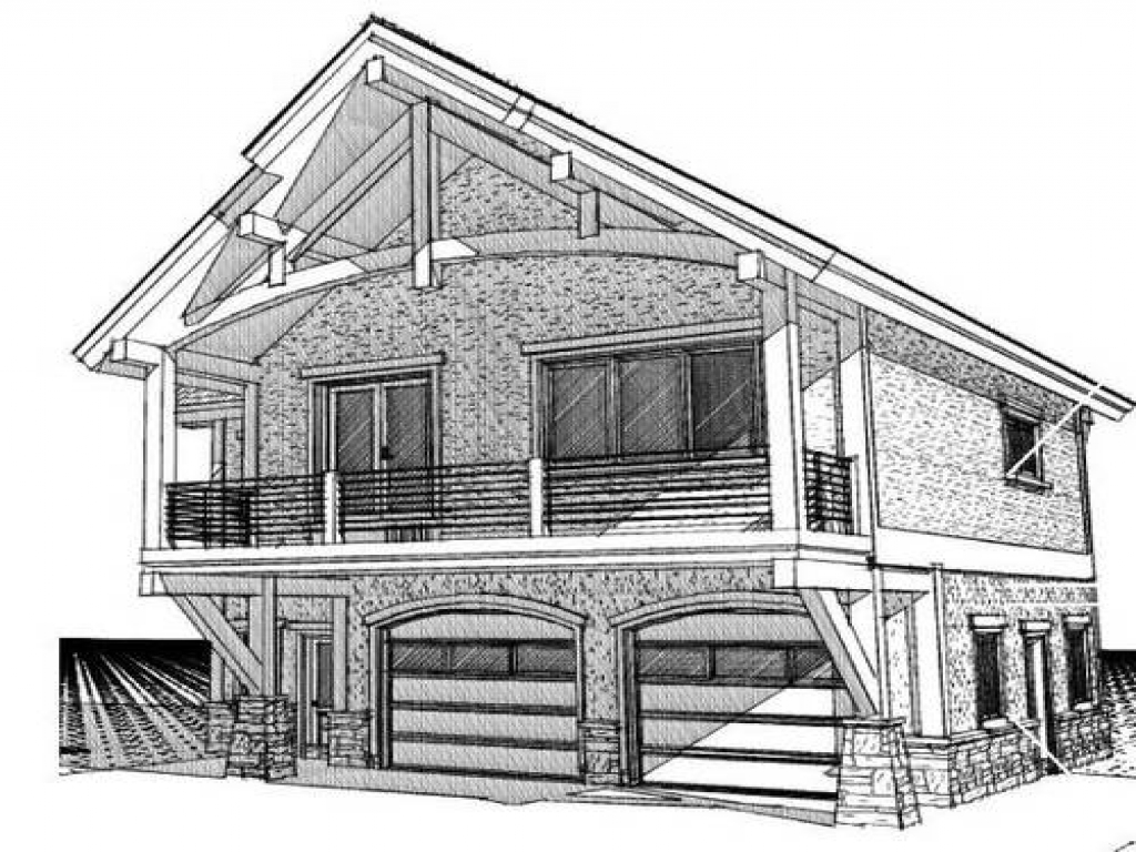 Cabin with garage underneath cabin garage with living for Cabin plans with garage