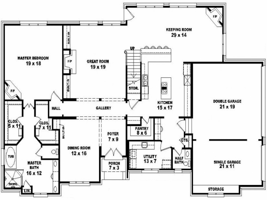 4 bedroom 2 story house plans split bedroom 2 story 5 for 2 story ranch house plans