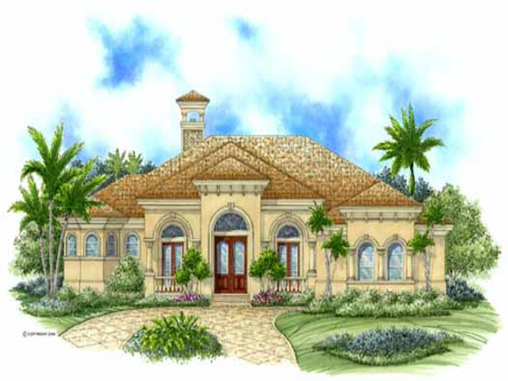 Mediterranean style house plans 3043 square foot home 1 for Luxury 1 story house plans