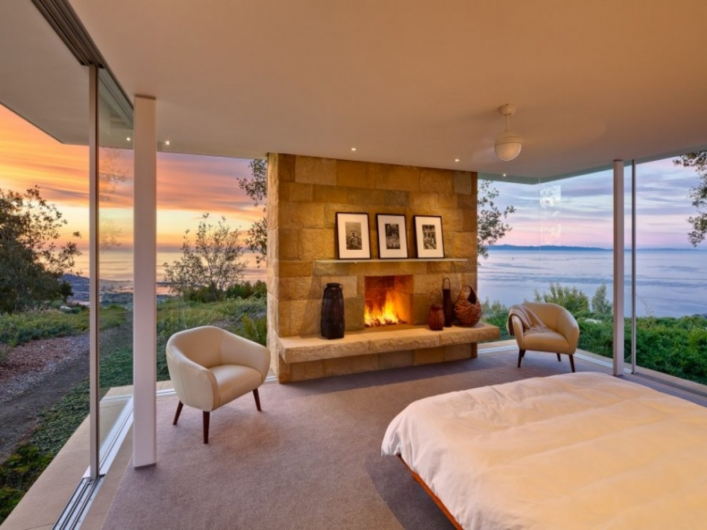 Modern bedroom with fireplace luxury master bedrooms in for Bedroom designs usa