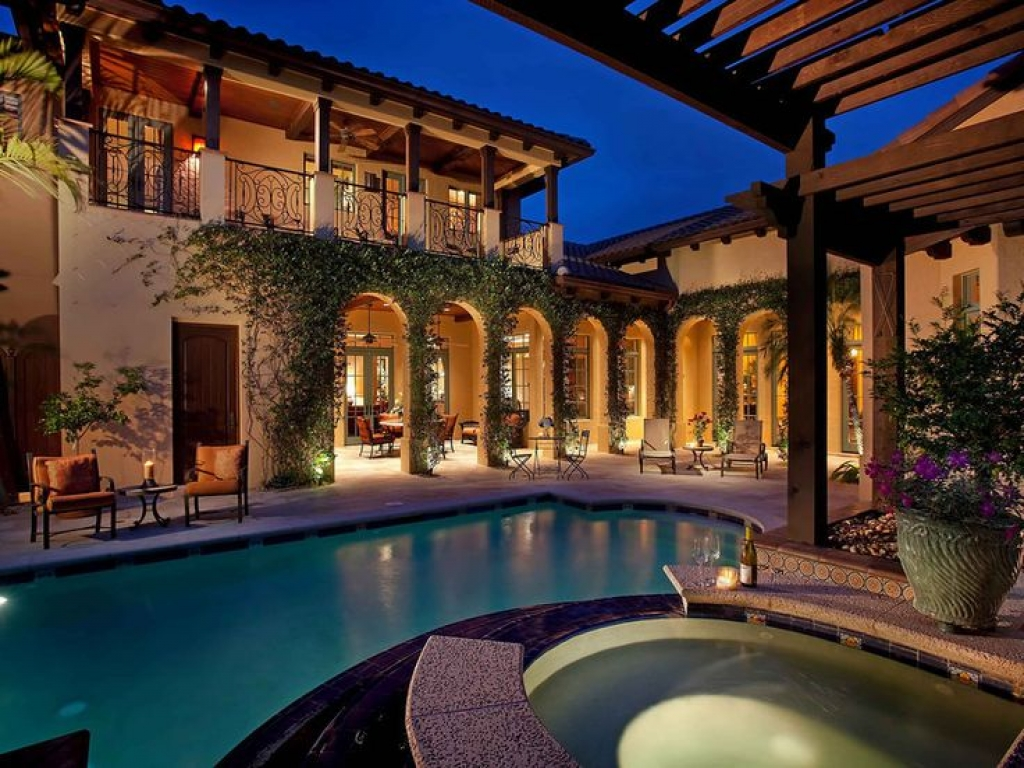 Spanish Style Home with Courtyard Pool Mediterranean Style ...