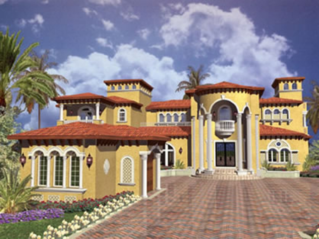 Spanish mediterranean style house plans spanish for Luxury home plans florida