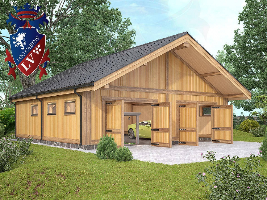 Awesome log cabin with garage log cabin with garage log for Log cabin garage