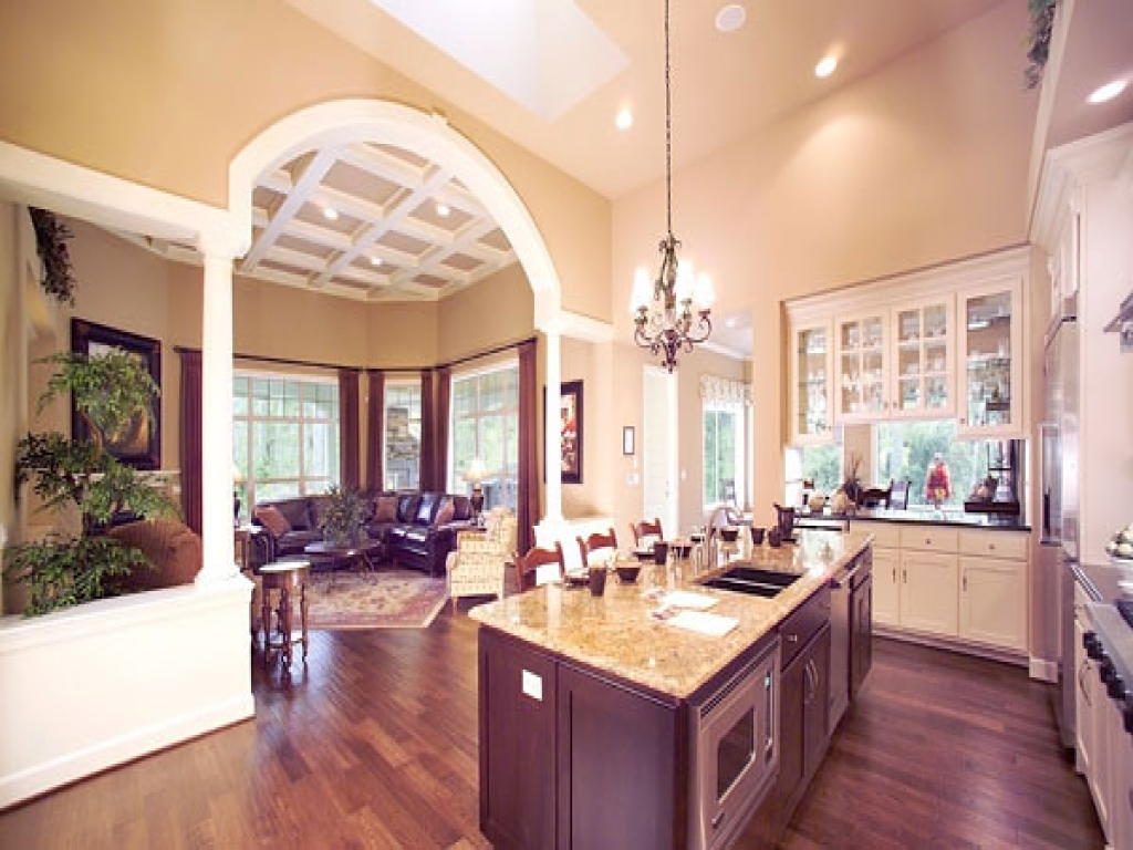 Open floor house plans with large kitchens small open for Open kitchen house plans