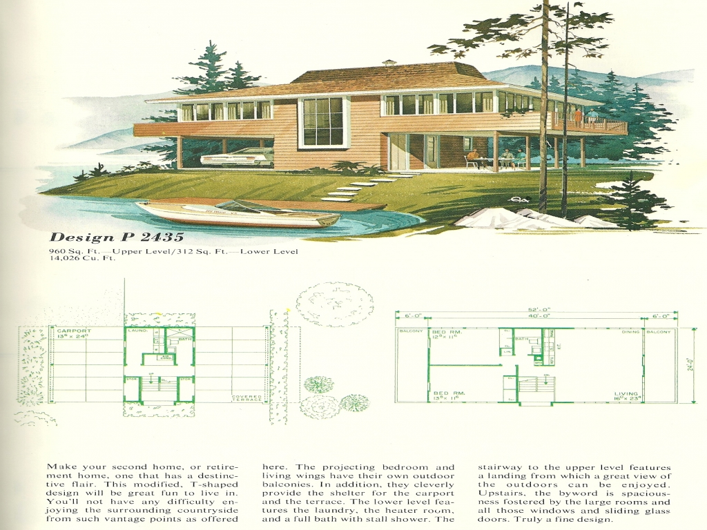 Ranch home plans 1960s house vintage vacation home plans for Vacation house plans