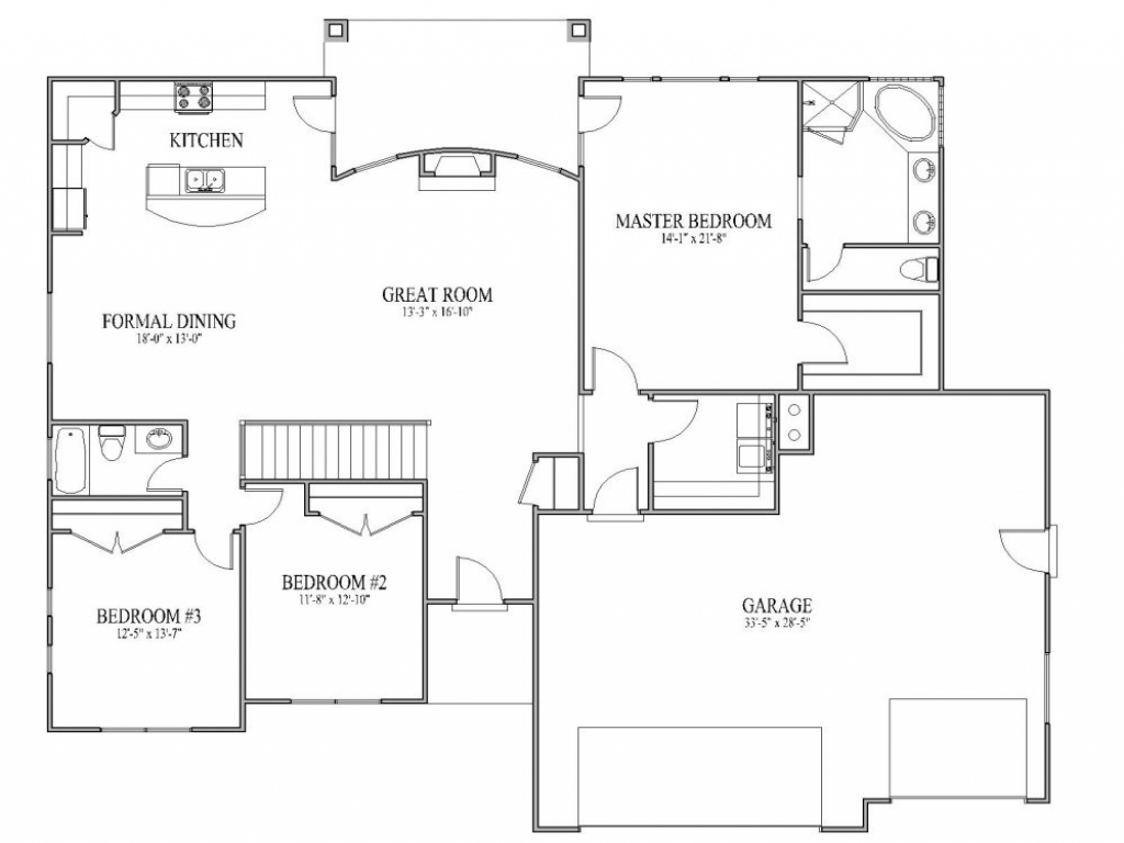 ranch floor plans with large kitchen simple house plans with open floor plan simple affordable 9192