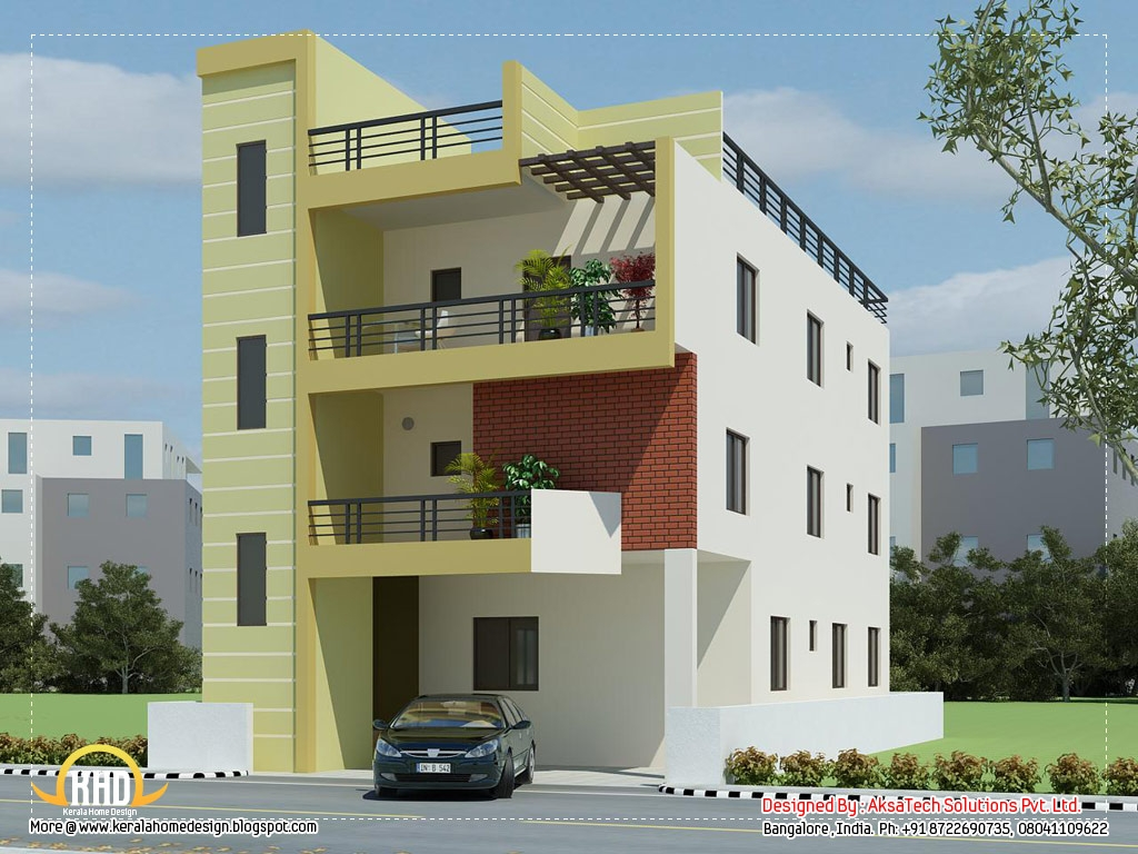 Two story modern house elevation designs modern house elevation designs home designs india for Front view of home design in india