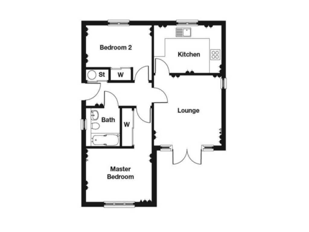 2 bedroom bungalow floor plan 2 bedroom house plans 2 for Two bedroom bungalow plans