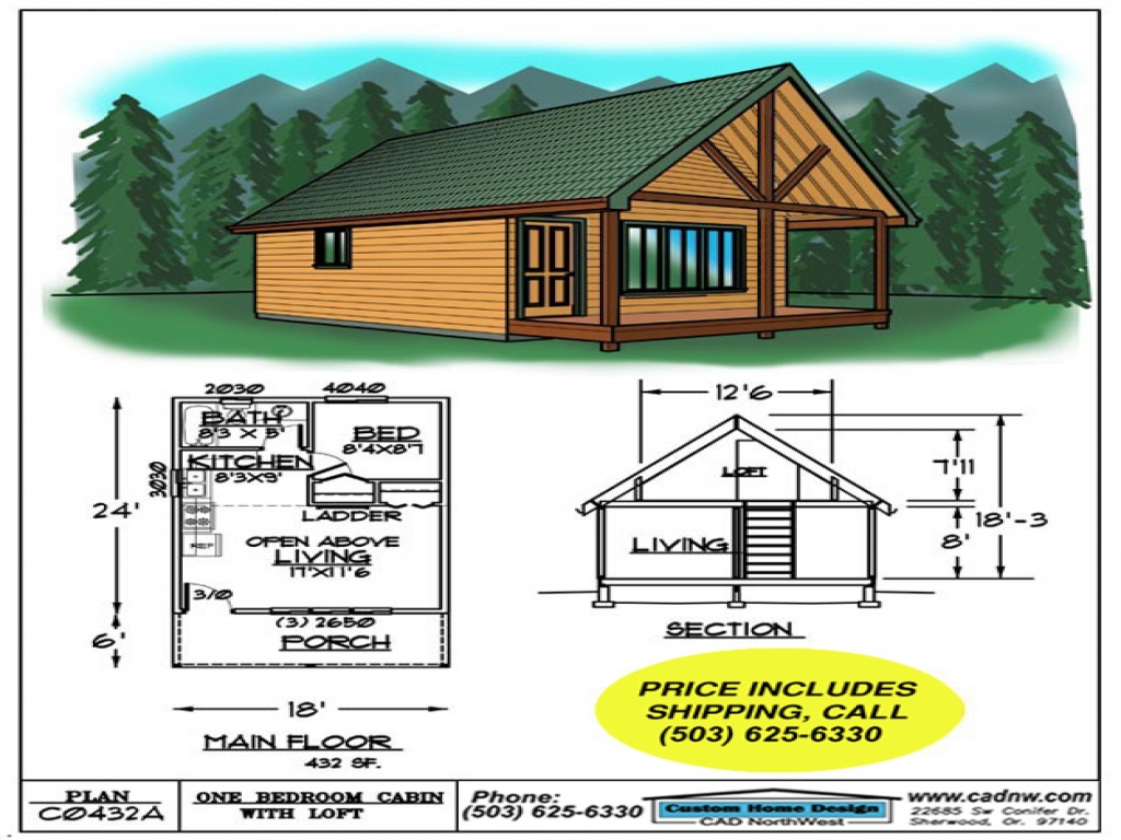 Sales drawing c0432a cabin plans 123 for Cabin plans 123