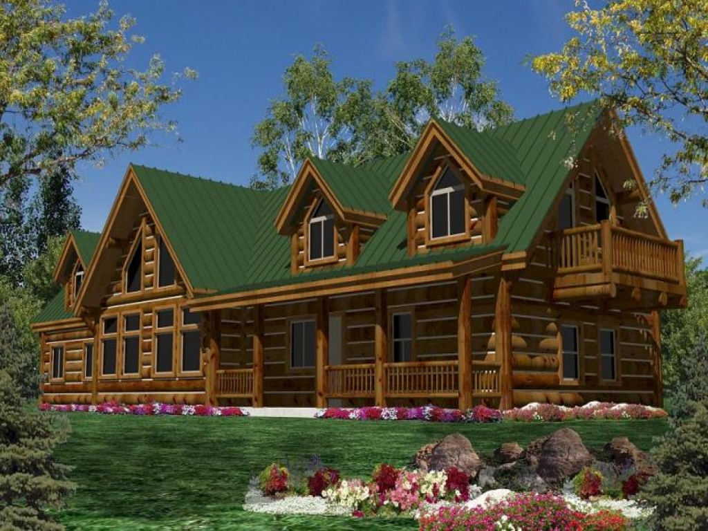 Single story luxury mountain cabin plans single story log for Two story log cabin kits