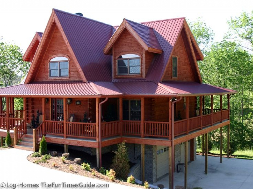 Metal home with wrap around porch log cabin t metal wrap for Log cabin homes with wrap around porch