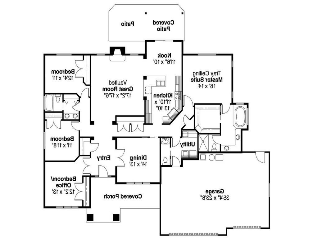 Single story craftsman house plans craftsman house plans for Single story floor plan