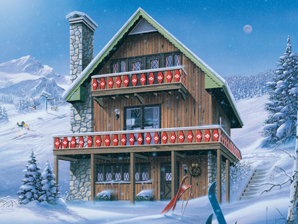 Ski chalet house plans inglewood ski chalet home plan 008d for Home plans and more
