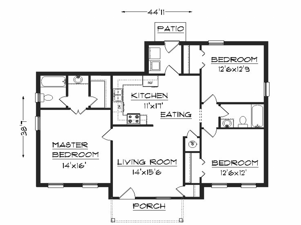 1 bedroom house plans simple house plans basic house for Simple one room house plans