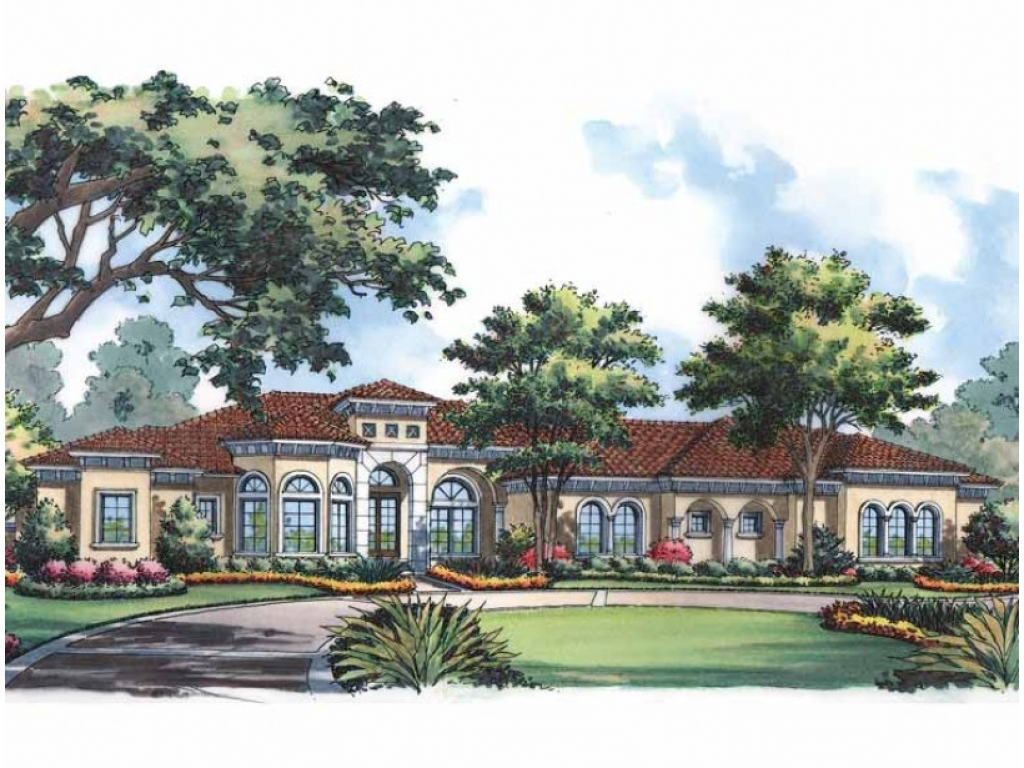 One story mediterranean house plans meditarrian style one for Single story mediterranean style homes