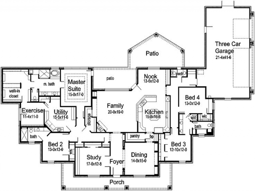House floor plans with rv garage attached house floor for House plans with 4 car attached garage