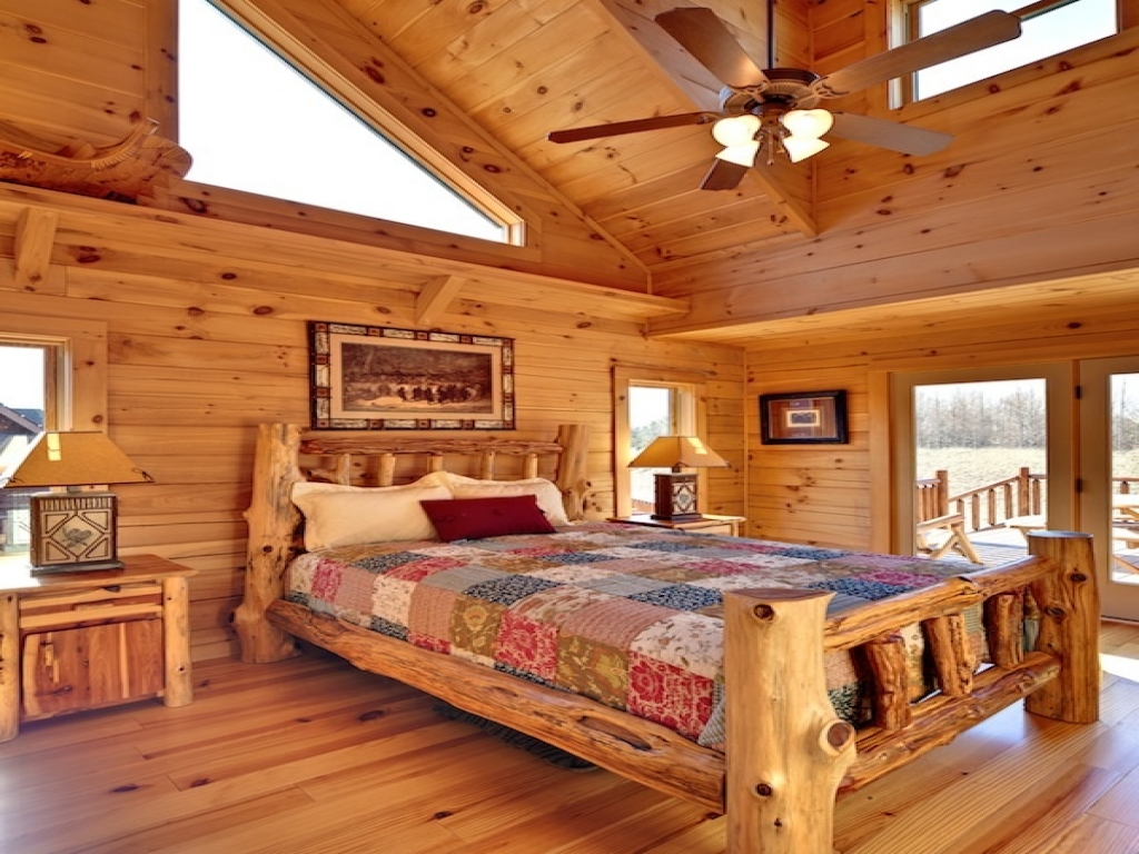 Log cabin interior design bedroom small log cabin for Two room log cabin