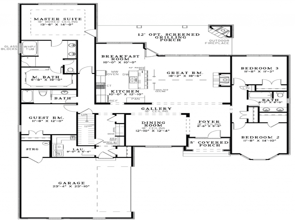 Open Floor Plan House Designs Floor Plans Open Kitchen And Living Room Small House Plan And