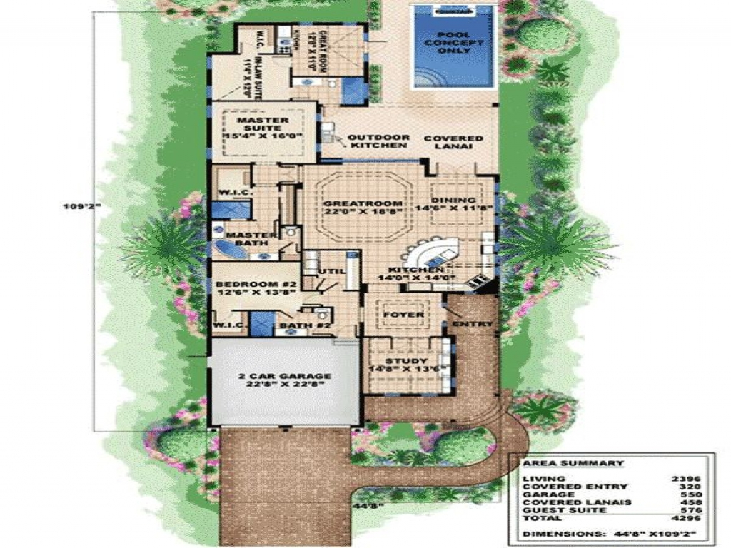 Very narrow lot house plans plan w66295we narrow lot for Beach house design narrow lot