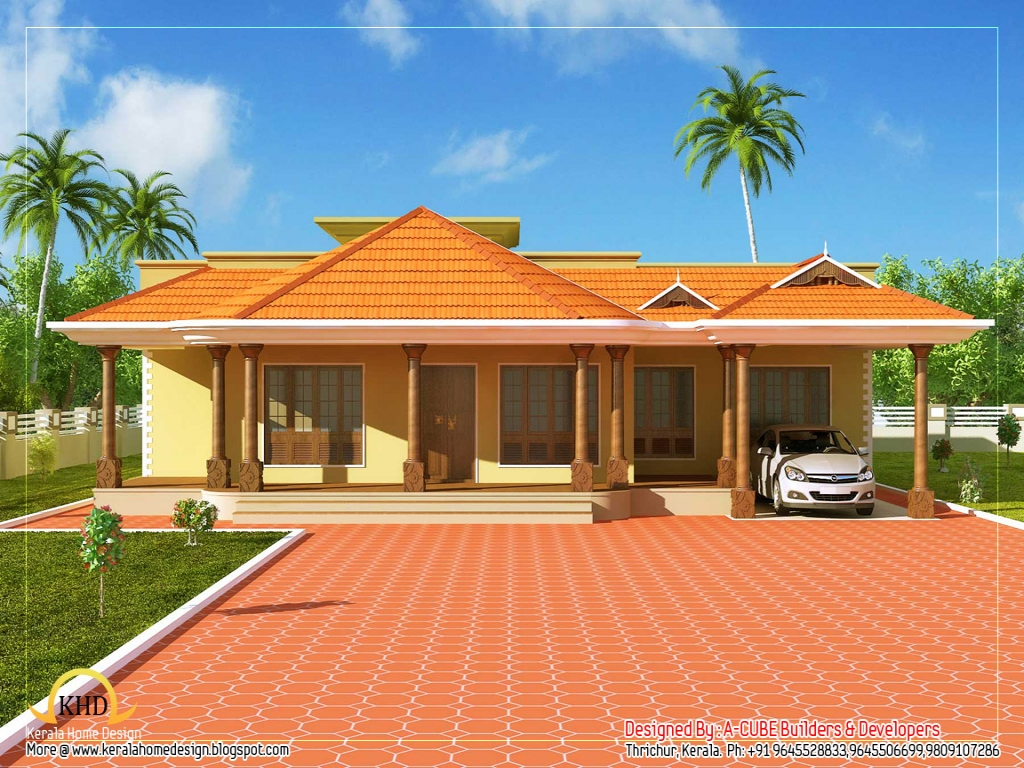 Contemporary single floor house designs kerala single for Single floor contemporary house
