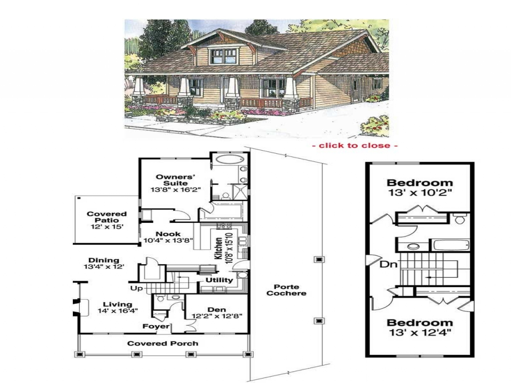 Bungalow house plans with porches bungalow house floor for Arts and crafts floor plans