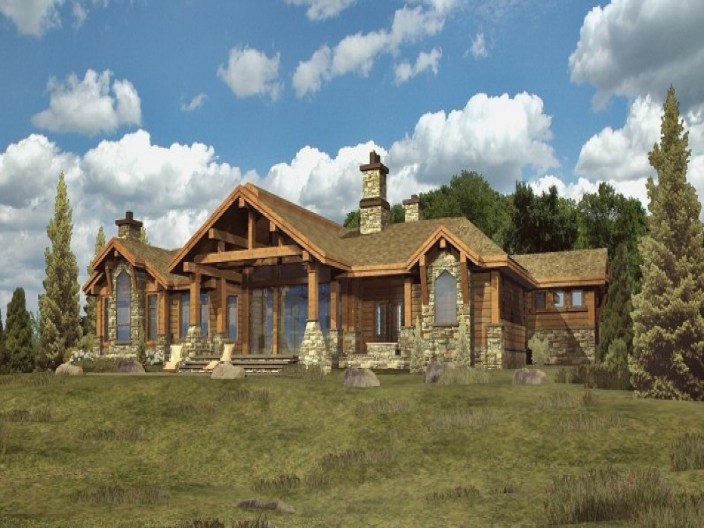 Log cabin ranch style home plans log cabin interiors log for Ranch style log home designs