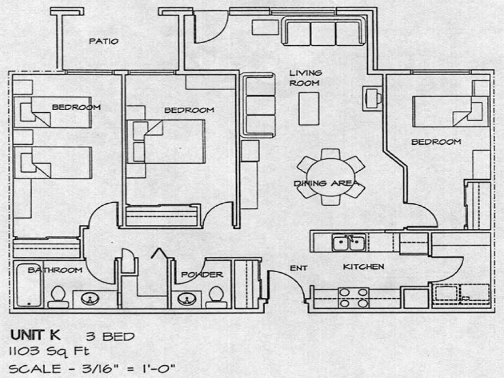 3 Bedroom House Floor Plans 3 Bedroom Section 8 Houses Small Housing Plans Treesranch Com