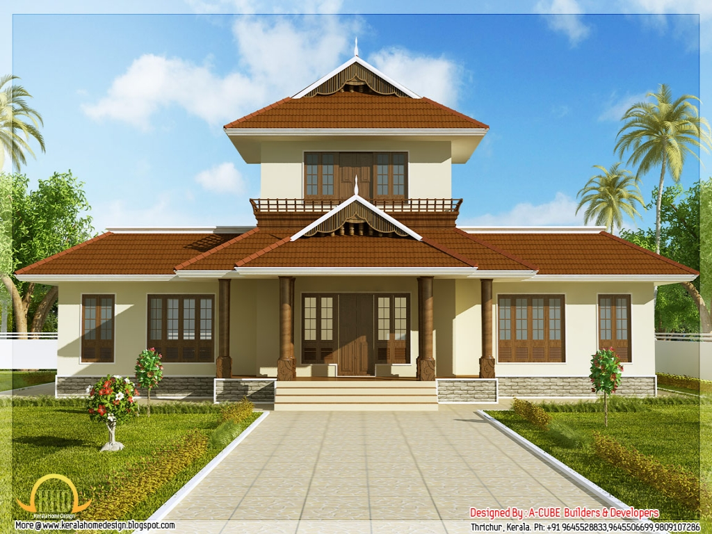 D View Of Home Front Elevation : Kerala house plans front elevation design