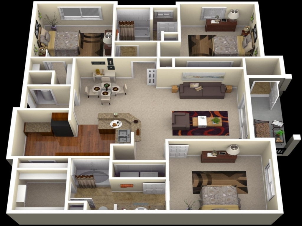 3 Bedroom Apartment Floor Plans 3D 3 Bedroom Apartments in ...